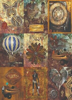Steam punk cards, 9 steampunk cards, size 2.5x3.5 inches junk journal cards
