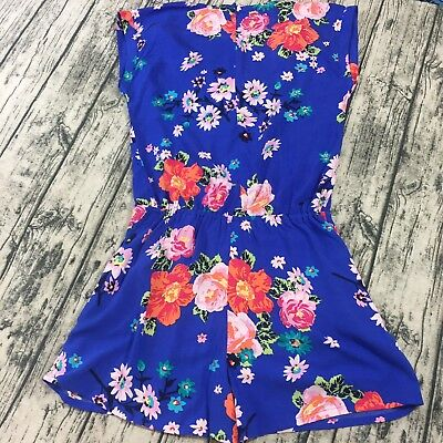 601fc969de3 Matilda Jane Womens Romper M Medium Blue Waist Tie Floral Sleeveless Sample  Nwt
