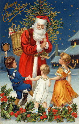 Christmas Santa Claus & children Oil painting HD printed on canvas L212