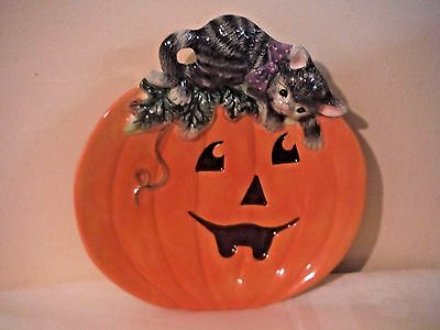 Fitz and & Floyd Halloween Kitty canape plate 2063-139 new orange black cat