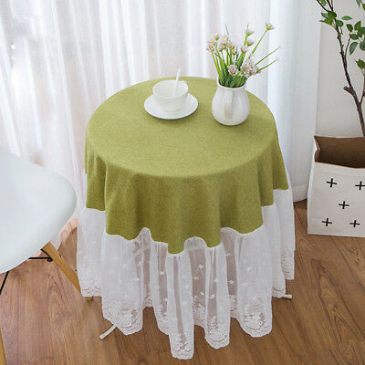 Round Table Cloths Cover Floral Lace Fabric Spliced Tablecloth Modern Decor Chic