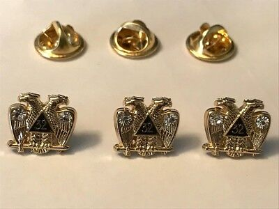 Lot of Three Masonic Scottish Rite 32 Degree Lapel Pins. Embedded Crystals. NEW!