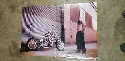 Indian Larry poster, signed, gasoline alley, man cave, motorcycle