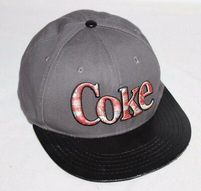 UNIQUE Coca-Cola Snapback Hat Cap Coke Trucker Black Gray Patch Rare Employee