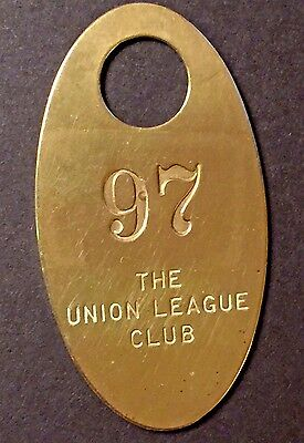 VTG - Key Fob Tag Solid Brass - The Union League Club - New York City - Room 97