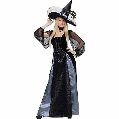 BRAND NEW BLACK BLUE Gothic Maiden Witch Adult Halloween Costume, M (8 - 10)