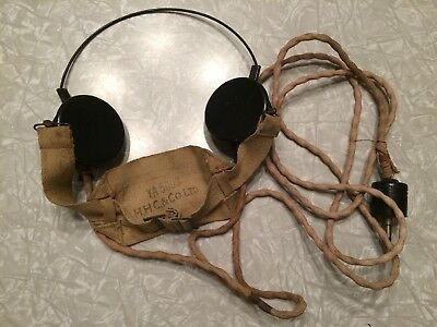 Vintage WWII British Army Military Headset H.H.C. & Co. LTD YA 5000 PX C-LR
