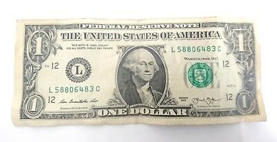 American $1 bill, USA note, American one dollar banknote - circulated