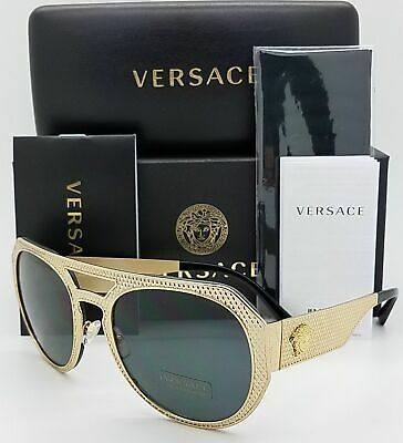 56fc748cb731 NEW VERSACE SUNGLASSES VE2175 100287 Gold Round GENUINE Big Poppa ...