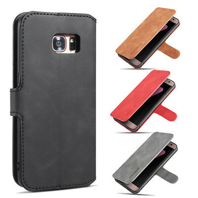 For Samsung S7 edge/S8+ Case, Magnetic Leather Wallet Card Slot Flip Stand Cover