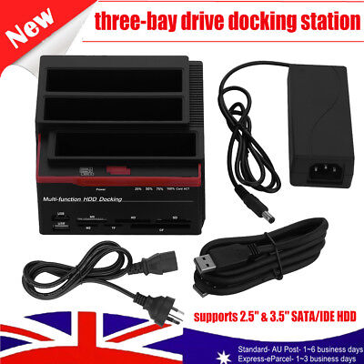 USB 3.0 to SATA HDD IDE Triple Bay 2.5/3.5 inch Hard Drive Card Dock Station HUB
