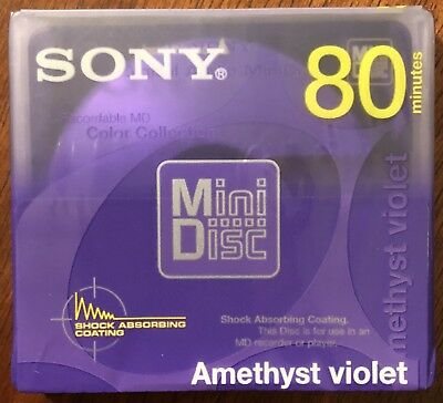 NEW Sony MiniDisc 80 Blank Recordable MD Color Collection Amethyst Violet SEALED