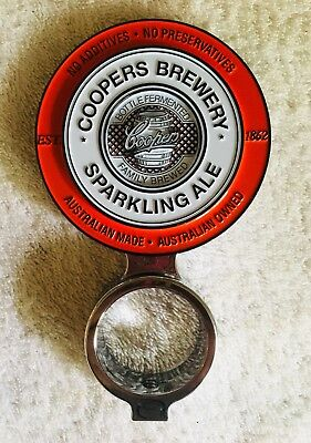Coopers Red Sparkling Ale Metal Tap Beer Decal With Mount Double Sided Top Pub