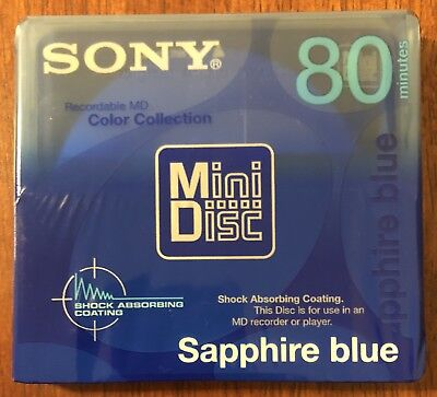 NEW Sony MiniDisc 80 Blank Recordable MD Color Collection Sapphire Blue SEALED
