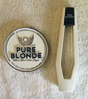 Pure Blonde Lager New Metal Tap Beer Decal Badge Top With Branded Tap Handle