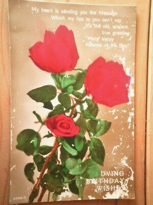Antique Birthday Postcard Red Roses 1927 Used Real Photograph Hand Coloured