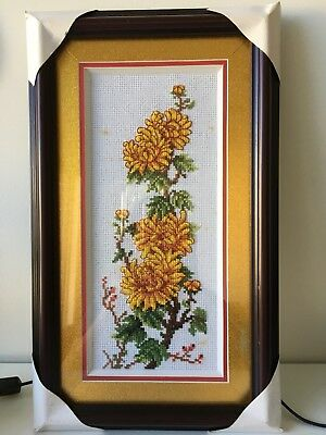 Framed Counted Cross Stitch - Chrysanthemums