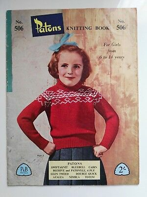Vintage Patons Knitting Book No. 506 - Girls 6 To 14 Years