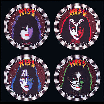 4 x KISS DRINK COASTERS FACES OF STANLEY, SIMMONS, FREHLEY, CRISS -