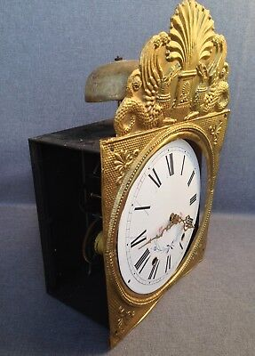 Antique french comtoise clock mechanism brass repousse decor early 1900's dragon