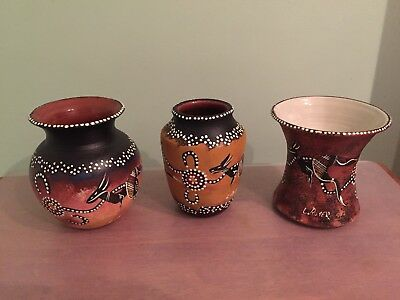 Hand Painted Aboriginal / Indigenous Art Vases