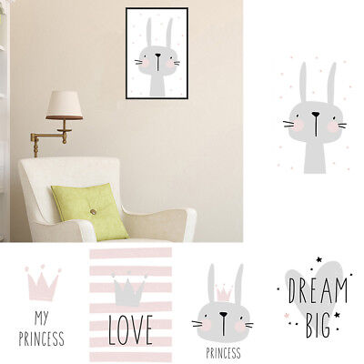Nordic Cartoon Rabbit Letter Canvas Printed Home Kids Room Wall Painting Nice