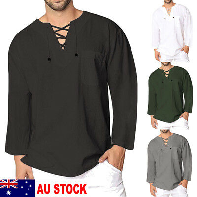 AU New Mens Casual T Shirt Cotton Linen Tee Hippie Shirts Long Sleeve Yoga Top