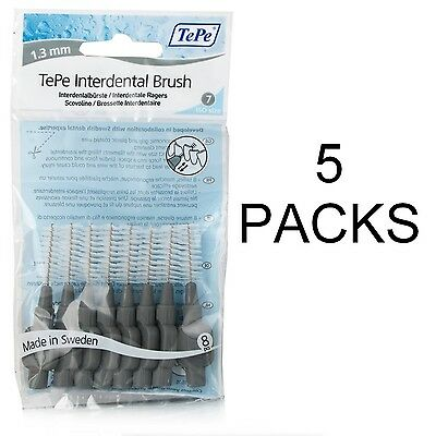 TePe Interdental Brushes 1.3mm Grey - 5 Packets of 8 Brushes - Great Price