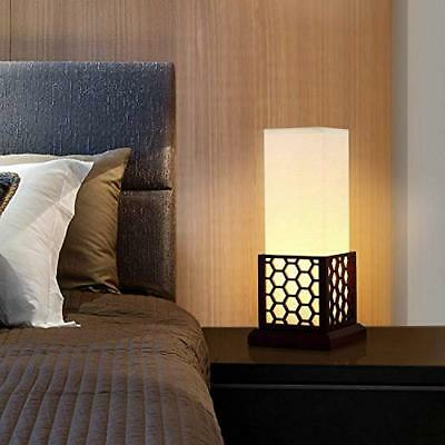 Minimalist Side Table Desk Lamp, Modern Asian Style Bedside (Circular pattern)