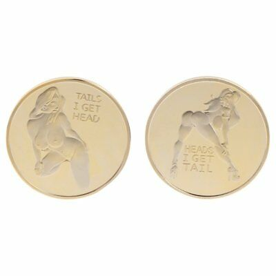 Sexy Girl Pin Up Good Luck Heads & Tails Challenge Gold Coin Art Collectible