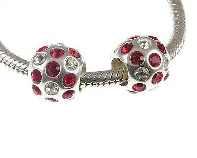 PAIR of solid 925 Sterling Silver RED & CLEAR PAVE CZ BALL Charm Beads Christmas