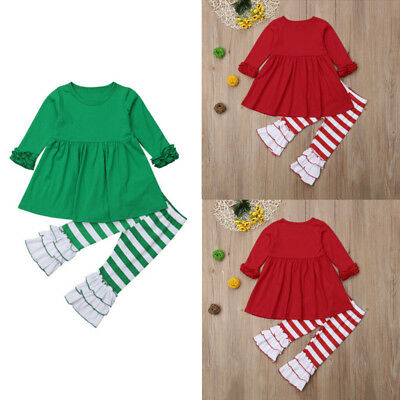 US STOCK Newborn Kids Baby Girls Christmas Halloween Tops Dress Pants Outfits