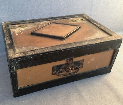 Big antique french 19th century safe cash bank made of wood and metal