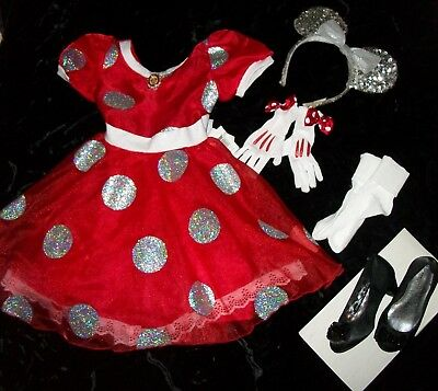 Girls Disney Minnie Mouse Costume Sz XS Fits 4-5 with all accessories