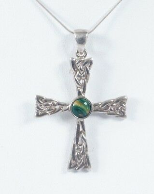 Sterling Silver & Green Gem Stone Celtic Cross Pendant & Chain