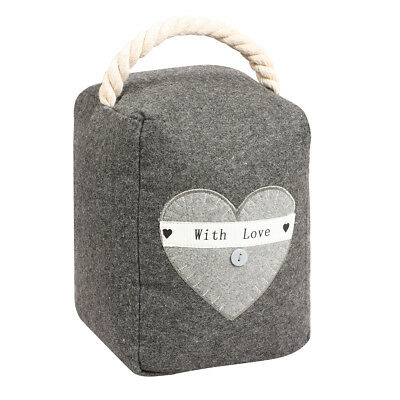 Luxury Shabby Chic Country Style Grey Love Heart Heavy Weighted Fabric Door Stop