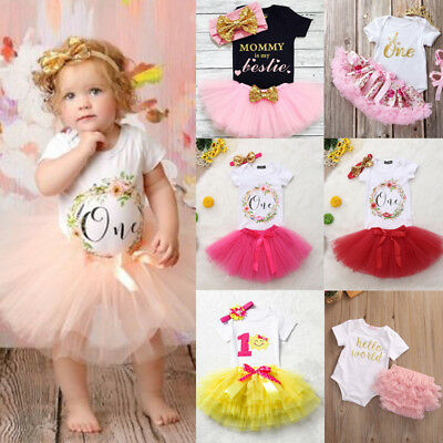 3PCS Baby Girl 1st Birthday Outfits Floral Romper Tutu Skirt Dress Party Costume