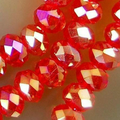 New 6*8mm 70PC Faceted Red AB Rondelle glass Crystal Beads