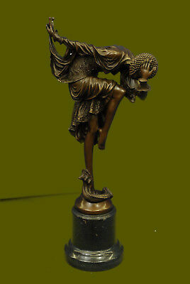 Art Deco Hand Made Snake Dancer Chiparus Home/Office Decor Bronze Sculpture Sale