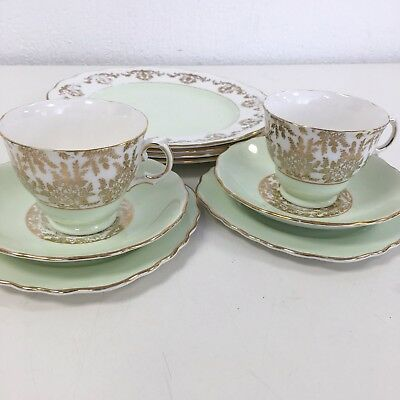 Royal Vale Bone China Gold Chintz Tea Cup Saucer Tea Plate Set Dining Green