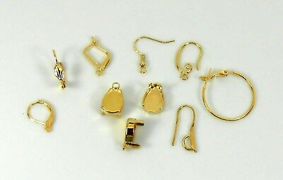 Empty cup chain Earrings Finding Pendant Sew on fits Swarovski 4320 Gold Silver
