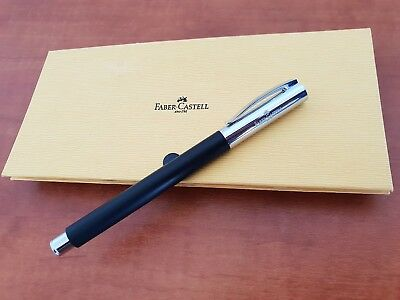 Faber Castell Ambition Black Silver Fountain Pen M Nib