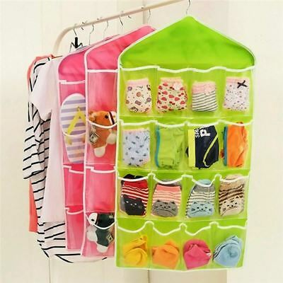 16 Pockets Foldable Wardrobe Hanging Bags Socks Briefs Organizer Clothing Hanger