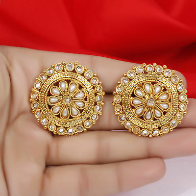 Indian Bollywood 18k Gold Plated Pearl Ad Stud Tops Earrings Bridal Jewelry Set