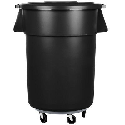 55 Gallon Carlisle Black Plastic Restaurant Kitchen Trash Can with Lid & Dolly