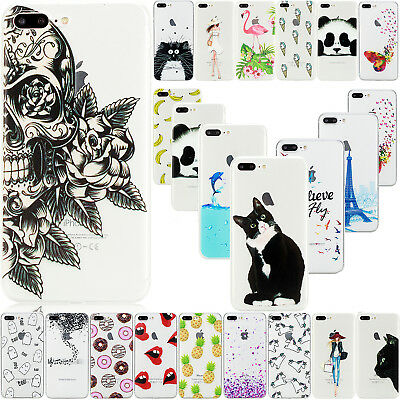 For iPhone XS Max XR 7 Plus Case Cute Patterned Slim Soft TPU Rubber Clear Cover