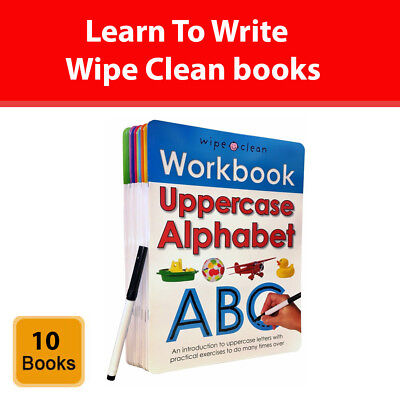 Learn To Write Wipe Clean 10 books collection set Alphabets Numbers Phonics NEW