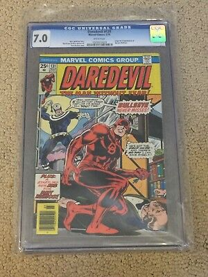 Daredevil 131 CGC 7.0 with Rare White Pages (1st app of Bullseye!!)