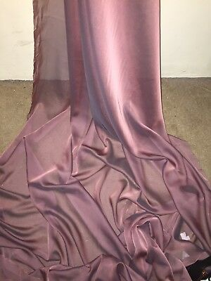 "1 Mtr Dusty Pink Cationic Two Tone Sheer Bridal,dress Chiffon Fabric ..58"" Wide"