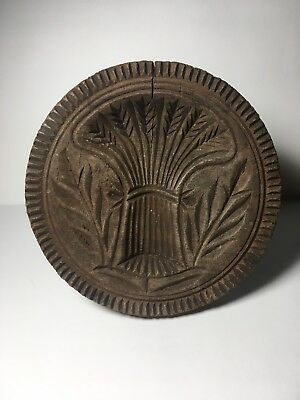 Antique Primitive Wooden Butter Stamp/mold-Round Carved Wheat/plants
